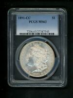 1891-CC US MORGAN SILVER DOLLAR $1.00 $1 PCGS MINT STATE 63 UNC ORIG. SURFACES PATINA