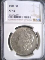 1901 MORGAN SILVER DOLLAR, NGC EXTRA FINE -45 - GOOD GRADE FOR THIS DATE - ORIG