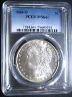 1888-O MORGAN DOLLAR, PCGS MINT STATE 64 BRILLIANT WHITE LUSTER  IN THIS GRADE