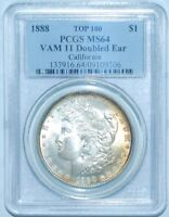 1888 P PCGS MINT STATE 64 VAM-11 DOUBLED EAR TOP-100 MORGAN SILVER DOLLAR GREAT COLOR