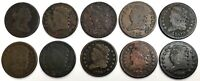 10 1805 -1829 UNITED STATES DRAPED BUST & CLASSIC HEAD HALF CENT CIRC COIN LOT