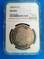 1890 CC MORGAN SILVER DOLLAR CERTIFIED NGC MINT STATE 60 CARSON CITY