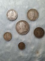 JOB LOT OF OLD SILVER COINS  1896 CROWN VICTORIA  SWITZERLAN