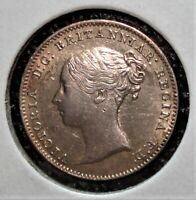 1866 SILVER 3 PENCE BRITISH COIN SHOWING DIE ROTATION & DIE CRACK MINT ERRORS