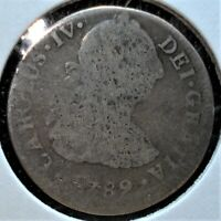 1789 MO FM SILVER 2 REALES COIN FROM MEXICO