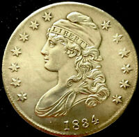 1834-CAPPED BUST-LETTERED EDGE-SILVER-HALF DOLLAR-ALMOST UNCIRCULATEDLK