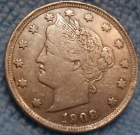 1908 LIBERTY V NICKEL 5C CH EXTRA FINE   US COIN.