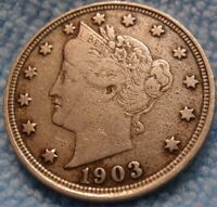 1903 LIBERTY V NICKEL 5C CH FINE  US COIN.