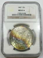 1887-P NGC MINT STATE 61 RAINBOW TONED REV SILVER MORGAN DOLLAR $1 US COIN ITEM 27372B
