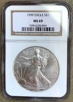 1999 AMERICAN 1 OZ .999 SILVER EAGLE US $1 NGC MINT STATE 69