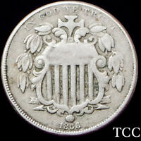1866 SHIELD NICKEL 5C  FIRST YEAR WITH RAYS TYPE  BEAUTIFUL AND   TCC