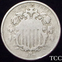 1867 SHIELD NICKEL 5C  BEAUTIFUL COIN, FULL RIMS  EARLY AND   TCC