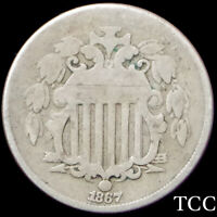 1867 SHIELD NICKEL 5C  STRONG DATE  ORIGINAL COIN  NO RAYS TYPE  TCC
