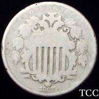 1867 SHIELD NICKEL 5C  GREAT DETAIL  ANTIQUE COIN  NO RAYS TYPE  TCC