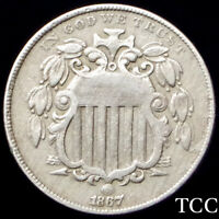 1867 SHIELD NICKEL WITH RAYS 5C  DDO DOUBLE DATE  SHIPS FREE  TCC
