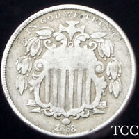 1868 SHIELD NICKEL 5C  GORGEOUS ANTIQUE COIN   EARLY DATE  TCC