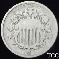 1868 SHIELD NICKEL 5C  BEAUTIFUL ANTIQUE COIN   EARLY DATE  TCC