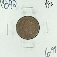 1892 INDIAN HEAD CENT VF  COIN