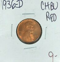 1936-D LINCOLN WHEAT CENT  CH/BU - RED  COIN
