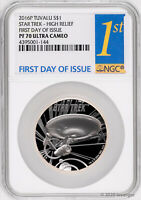 2016 P TUVALU STAR TREK ENTERPRISE SHIP 1 OZ HIGH RELIEF NGC