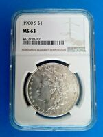 1900 S SILVER MORGAN DOLLAR NGC MINT STATE 63
