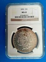 1892 MORGAN SILVER DOLLAR NGC MINT STATE 63 BEAUTIFUL COIN  DATE
