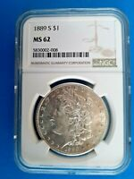 1889 S MORGAN SILVER DOLLAR  NGC MINT STATE 62   DATE