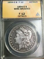ANACS 1894-O F12 DETAILS/WIRE BRUSHED MORGAN DOLLAR