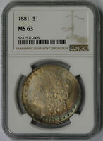 1881 MORGAN DOLLAR SILVER $1 MINT STATE 63 NGC COLOR TONED