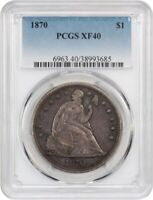 1870 LIBERTY SEATED DOLLAR _ PCGS XF 40 _ NO PROBLEMS HERE