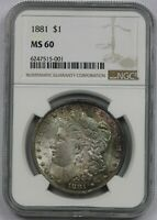 1881 $1 NGC MINT STATE 60 MULTI COLOR TONE MORGAN SILVER DOLLAR