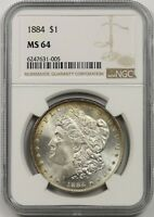 1884 $1 NGC MINT STATE 64 TONED MORGAN SILVER DOLLAR
