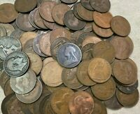 100 X VINTAGE BRITISH LARGE ONE PENNY UK COPPER PENNIES VICT