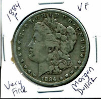 1884 P VF MORGAN DOLLAR 100 CENT   FINE 90 SILVER US $1 FINE COIN 4923