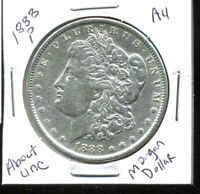 1888 P AU MORGAN DOLLAR 100 CENT  ABOUT UNCIRCULATED 90 SILVER US $1 COIN 5008