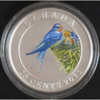 2011 CANADA 25 CENTS   BARN SWALLOW   COLOURED COIN   SALE