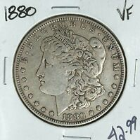1880 MORGAN SILVER DOLLAR  VF  COIN