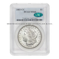 1883-CC $1 SILVER MORGAN PCGS MINT STATE 64 CAC CERTIFIED CHOICE DOLLAR CARSON CITY