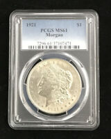 CLEAN 1921 MORGAN SILVER DOLLAR PCGS MINT STATE 61 MINT STATE 61