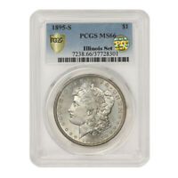 1895-S $1 SILVER MORGAN PCGS MINT STATE 66 PQ APPROVED ILLINOIS SET SAN FRANCISCO COIN
