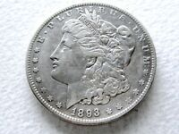 1893-O MORGAN SILVER DOLLAR COIN, COVETED DATE STRONG DETAIL - 8-R