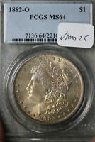 NATURALLY TONED 1882-O MORGAN SILVER DOLLAR - PCGS MINT STATE 64  VAM 18