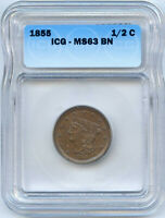 1855 BRAIDED HAIR HALF CENT. ICG GRADED MINT STATE 63 BN. LOT 2228