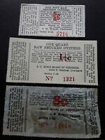 SOUTH CAROLINA OYSTER REVENUE STAMP X 3  'EARLY SERIES'