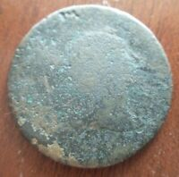 NO DATE LIBERTY CAP FLOWING HAIR LARGE CENT PENNY THIN FLAN 1795-1796 CORRODED