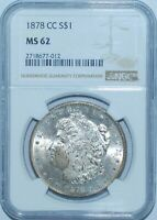 1878 CC NGC MINT STATE 62 VAM-11 TOP-100 LINES IN WING CARSON CITY MORGAN SILVER DOLLAR