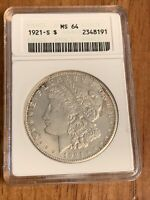 1921 S MORGAN SILVER DOLLAR ANACS OLD HOLDER MINT STATE 64 MINT STATE 64  TOUGH COIN $1.00