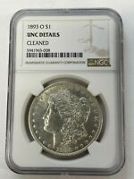 1893 O $1 MORGAN SILVER DOLLAR NGC UNCIRCULATED DETAILS CLEANED