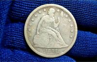 1864 SEATED LIBERTY SILVER DOLLAR  F / VF DETAILS  ONLY 31 K MINTED