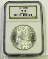 1881 CC MORGAN SILVER DOLLAR, NGC MINT STATE 63, BRILLIANT, SHARP STRIKE, LOTS OF LUSTER